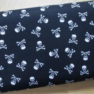 Baumwollpopeline Skulls schwarz weiss