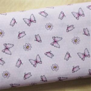 Baumwollstoff Schmetterlinge und Blumen auf Pünktchen hellrosa weiss