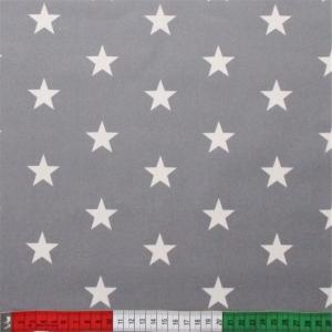 beschichtete Baumwolle Stars grau weiss