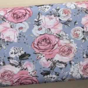 Jersey Rosenblüten grau