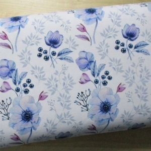 Sommersweat Blumenpracht weiss blau