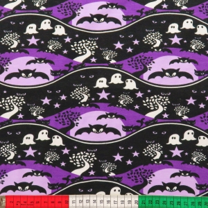 Stretch-Sweat Spooky Night schwarz-lila